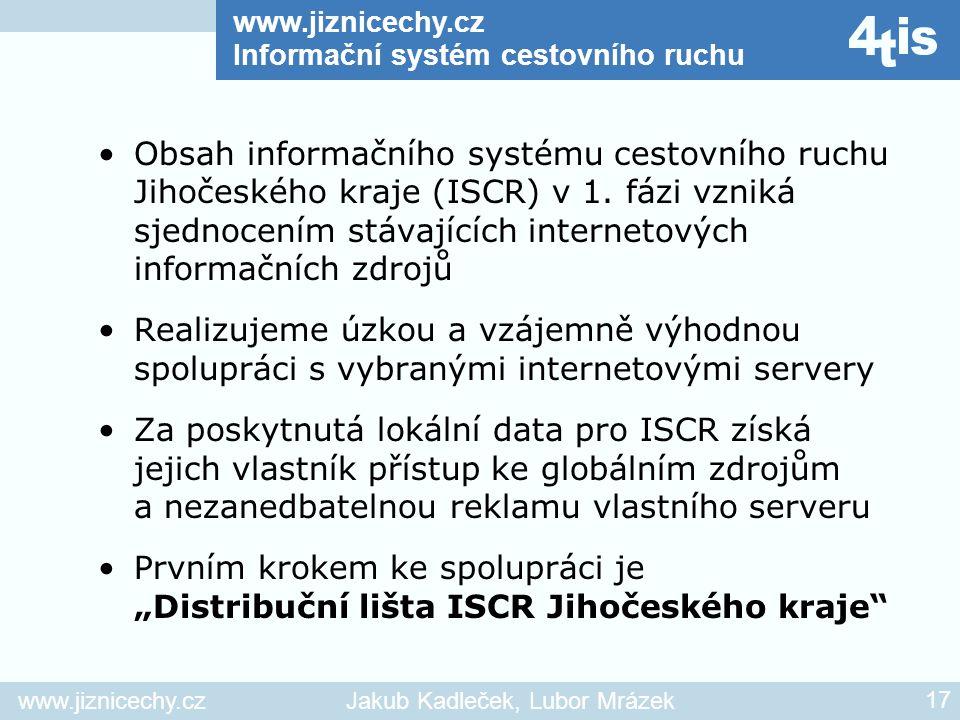 www.jiznicechy.cz Informační systém cestovního ruchu