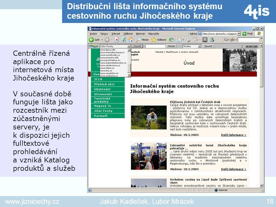Distribuční lišta informačního systému cestovního ruchu Jihočeského kraje