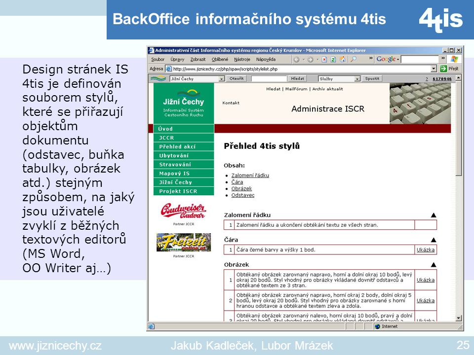 BackOffice informačního systému 4tis