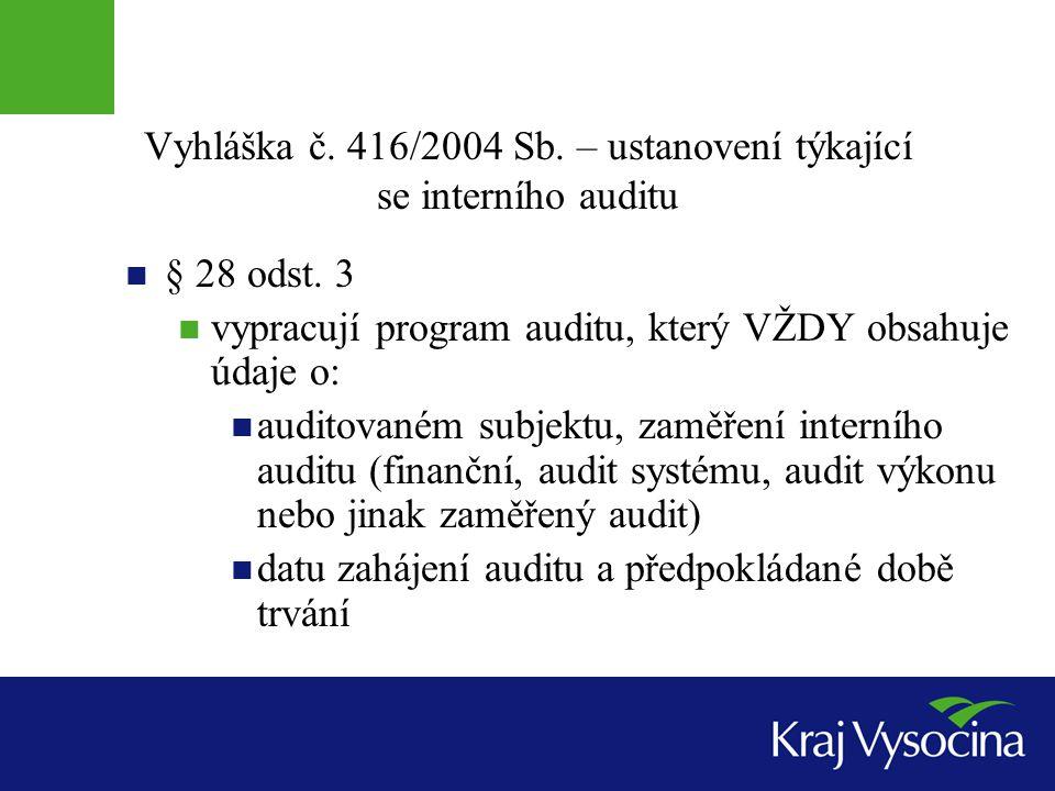 Vyhláška č. 416/2004 Sb. – ustanovení týkající se interního auditu
