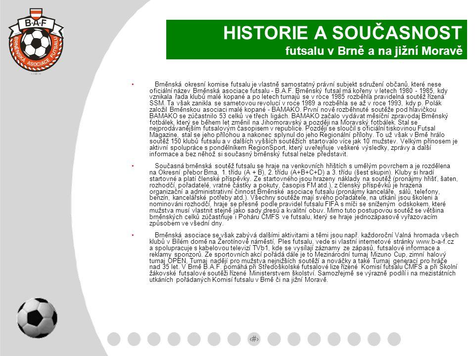 HISTORIE A SOUČASNOST futsalu v Brně a na jižní Moravě