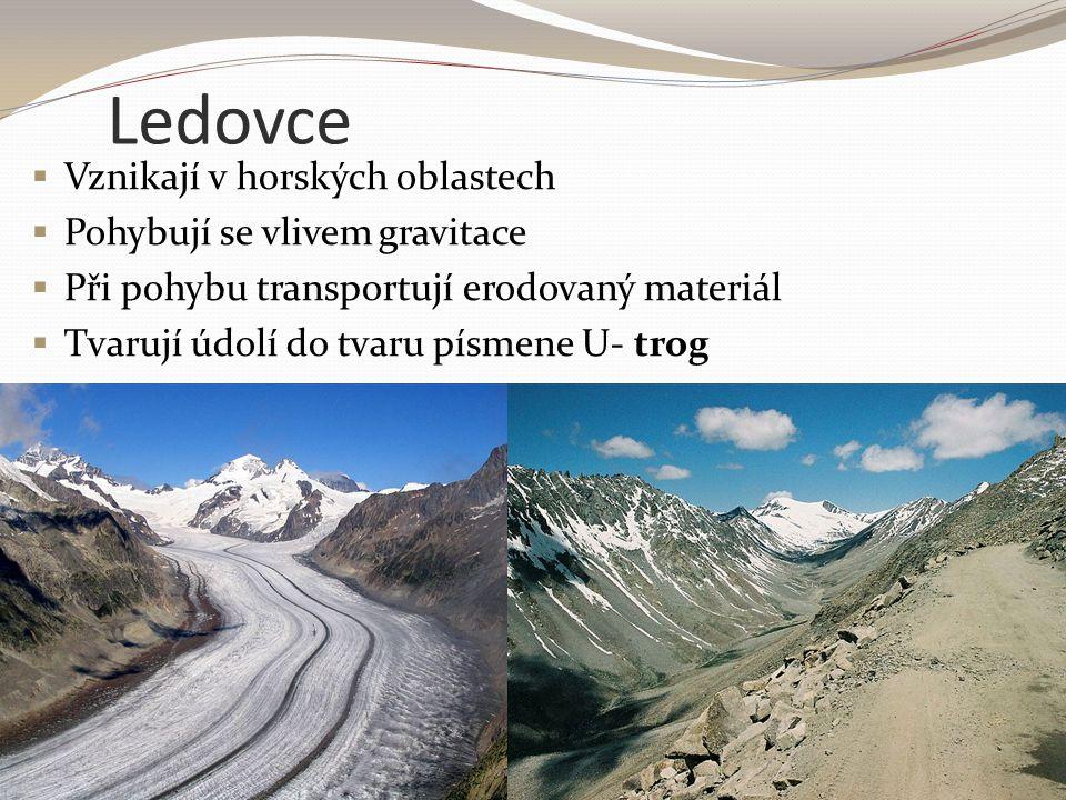 Ledovce Vznikají v horských oblastech Pohybují se vlivem gravitace