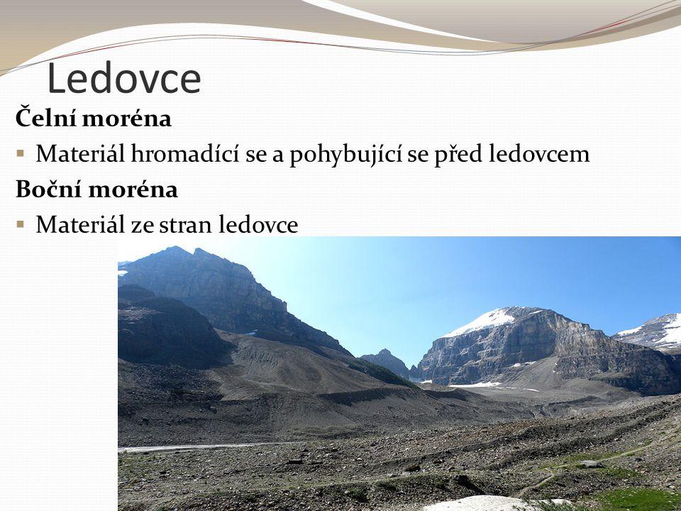 Ledovce Čelní moréna. Materiál hromadící se a pohybující se před ledovcem.