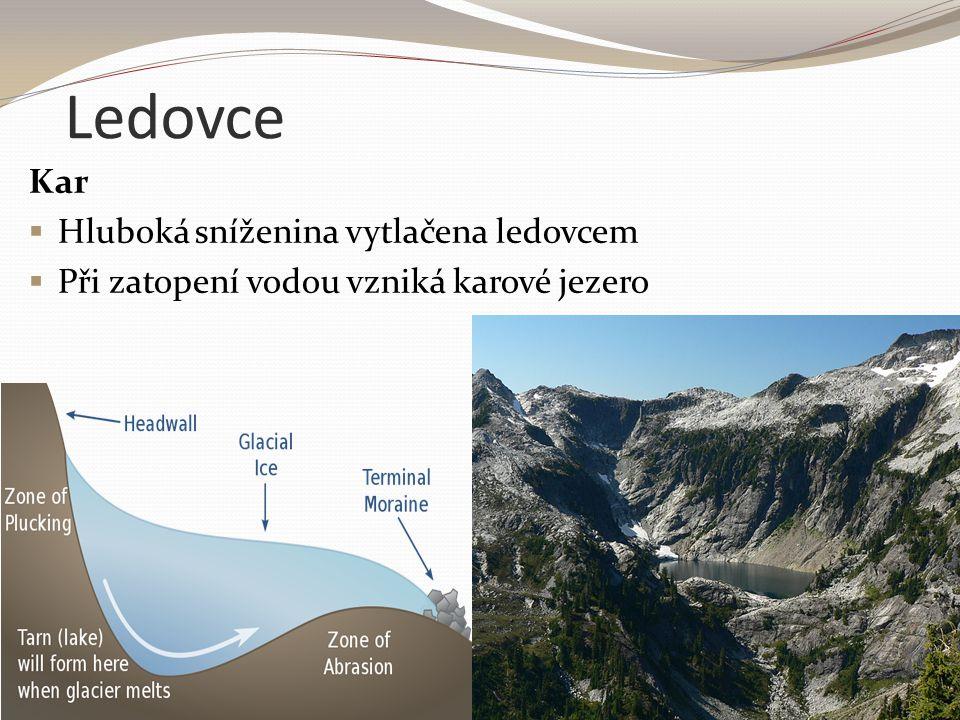 Ledovce Kar Hluboká sníženina vytlačena ledovcem