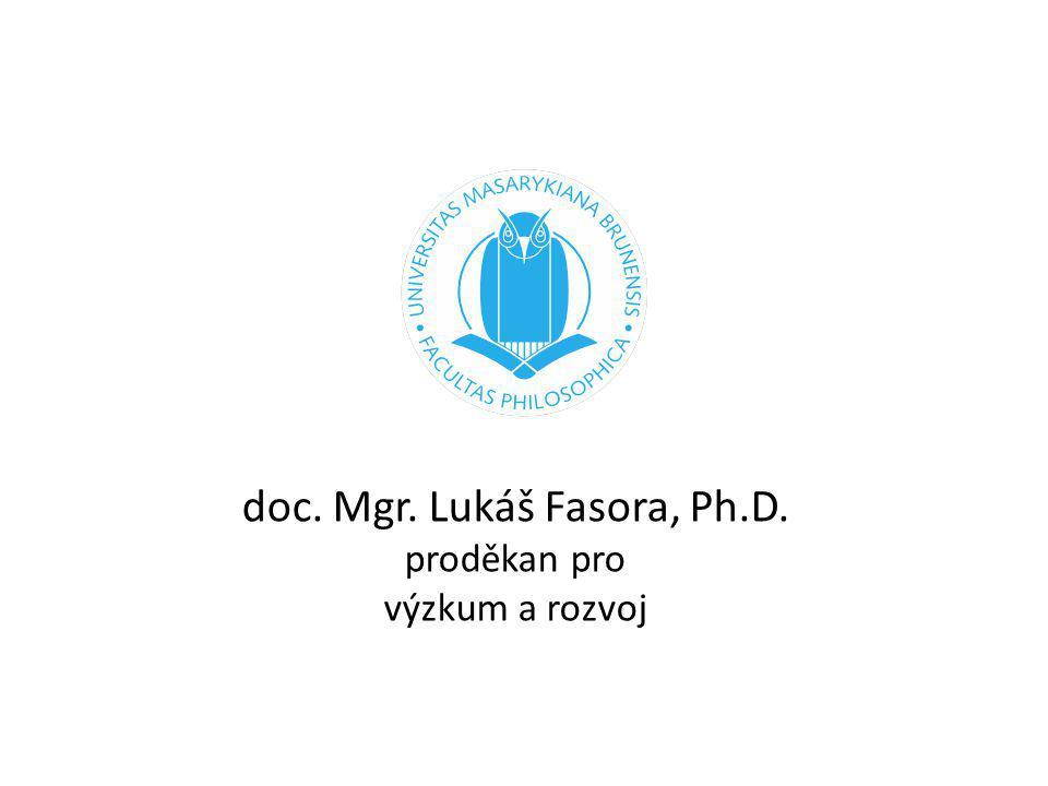 doc. Mgr. Lukáš Fasora, Ph.D. proděkan pro výzkum a rozvoj