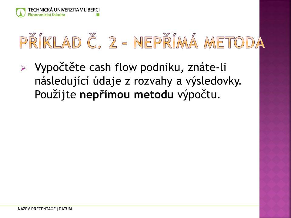 Příklad č. 2 – nepřímá metoda