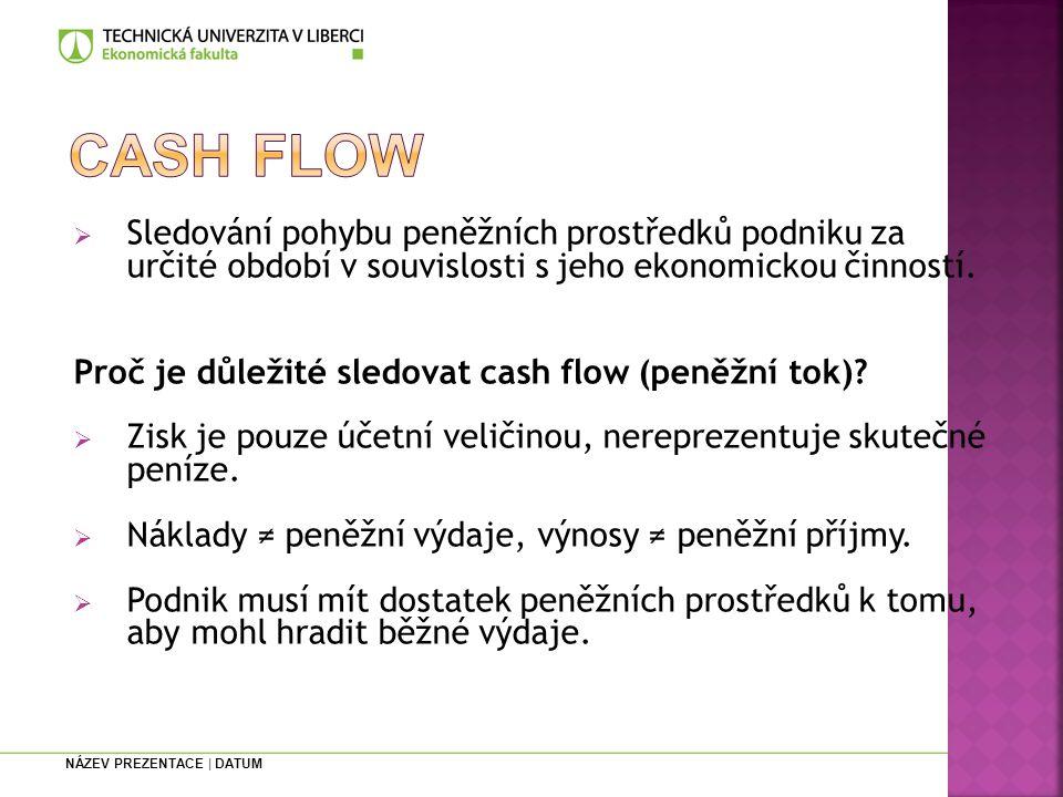 Cash flow Sledování pohybu peněžních prostředků podniku za určité období v souvislosti s jeho ekonomickou činností.