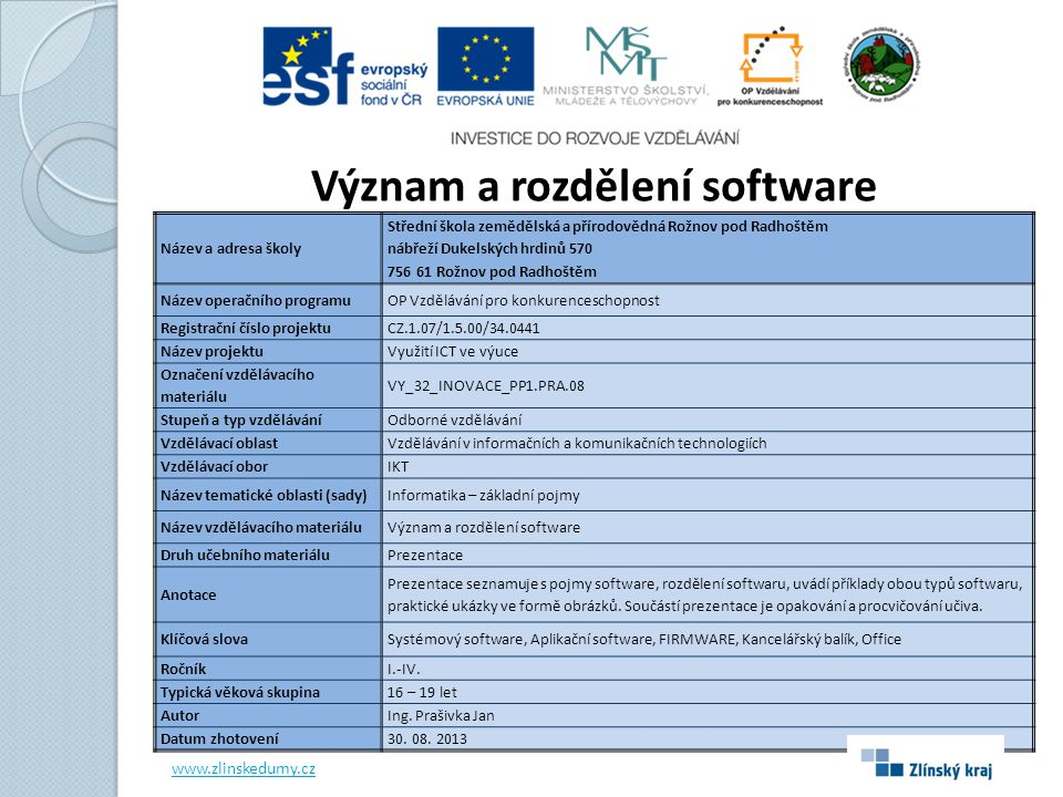 Význam a rozdělení software
