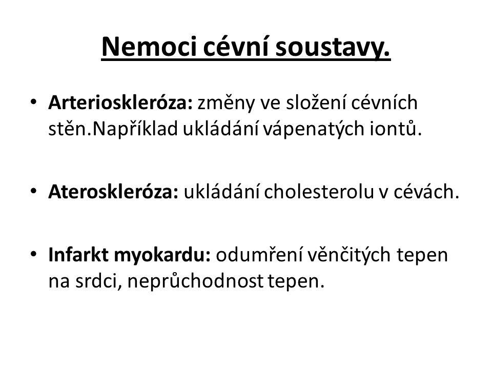 Nemoci cévní soustavy. Arterioskleróza: změny ve složení cévních stěn.Například ukládání vápenatých iontů.