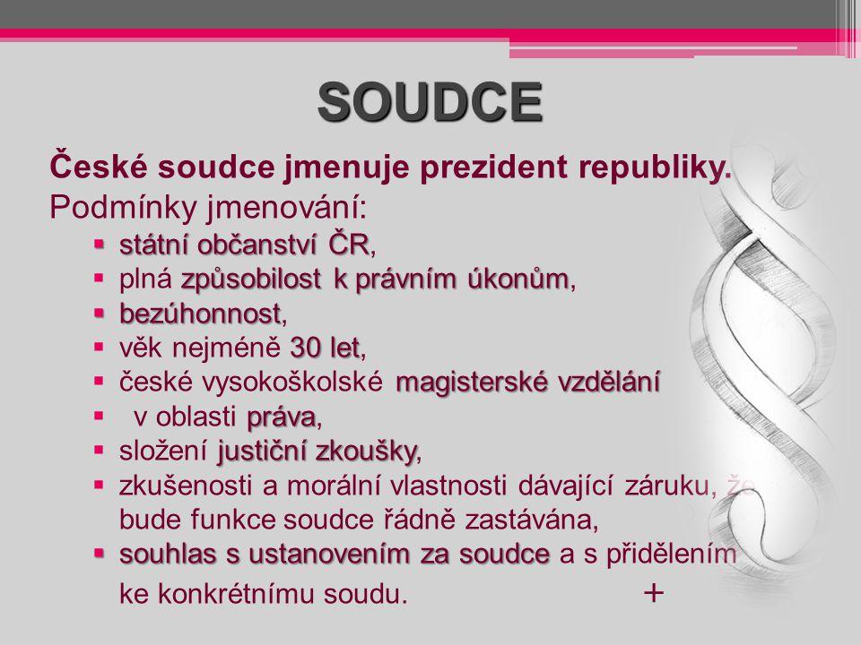 SOUDCE České soudce jmenuje prezident republiky. Podmínky jmenování:
