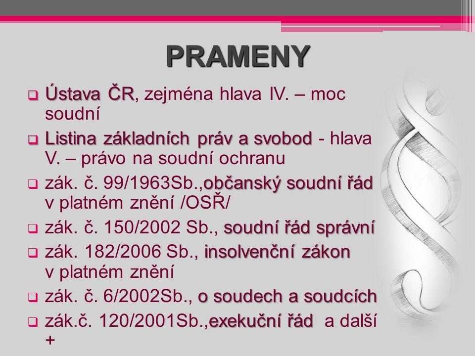 PRAMENY Ústava ČR, zejména hlava IV. – moc soudní