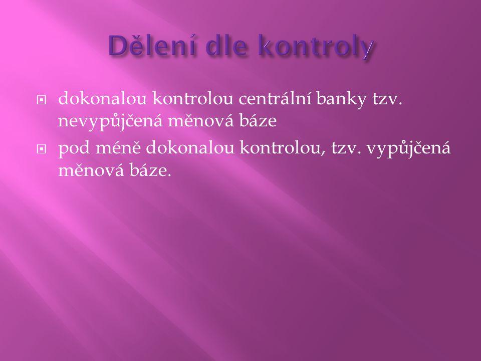 Dělení dle kontroly dokonalou kontrolou centrální banky tzv.
