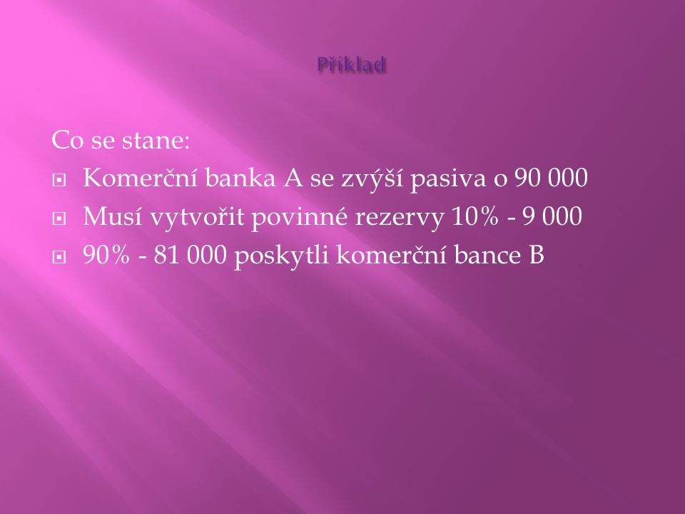 Komerční banka A se zvýší pasiva o 90 000