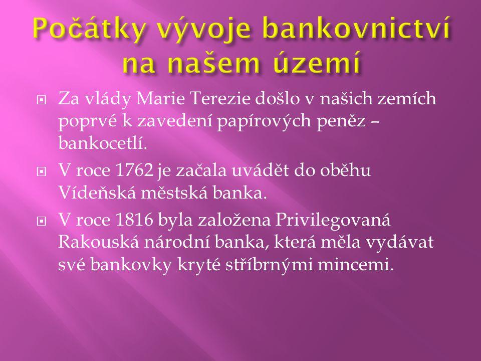Počátky vývoje bankovnictví na našem území