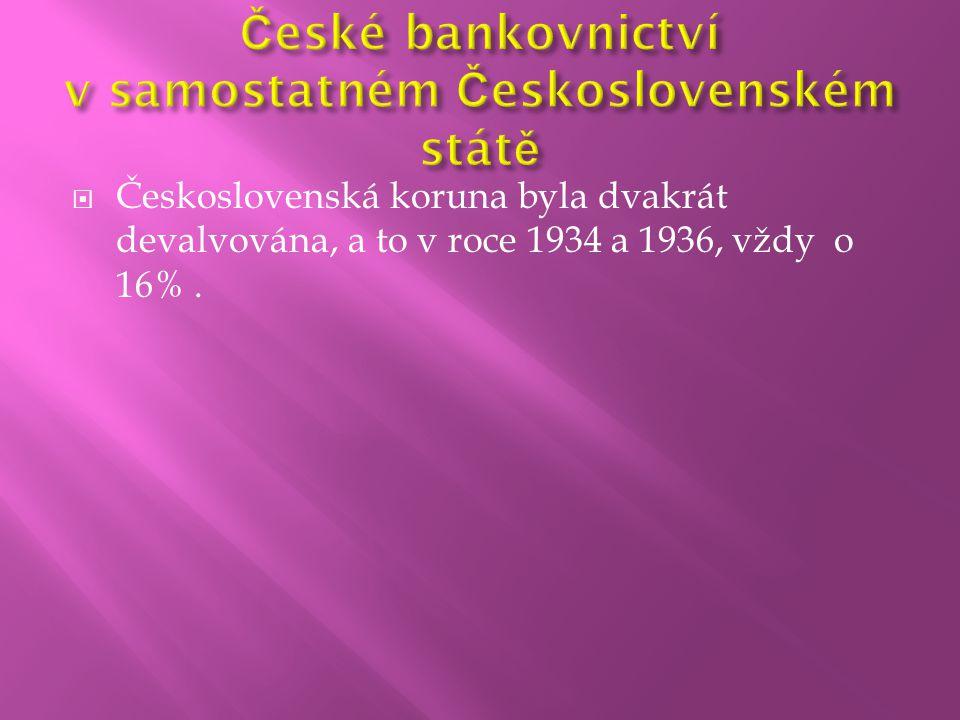 České bankovnictví v samostatném Československém státě