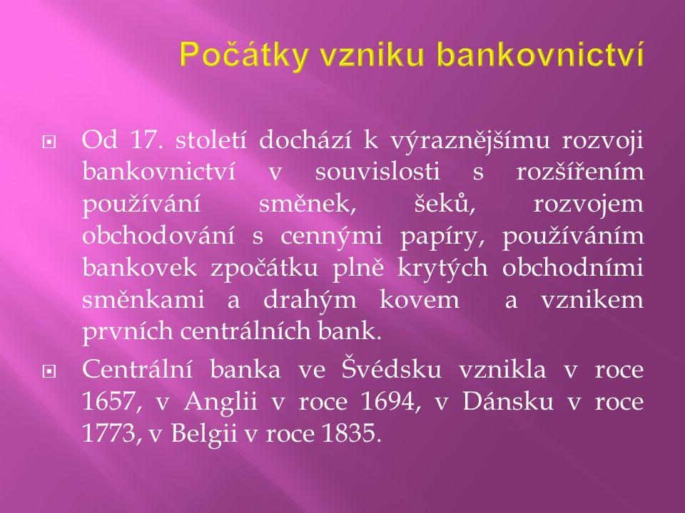 Počátky vzniku bankovnictví