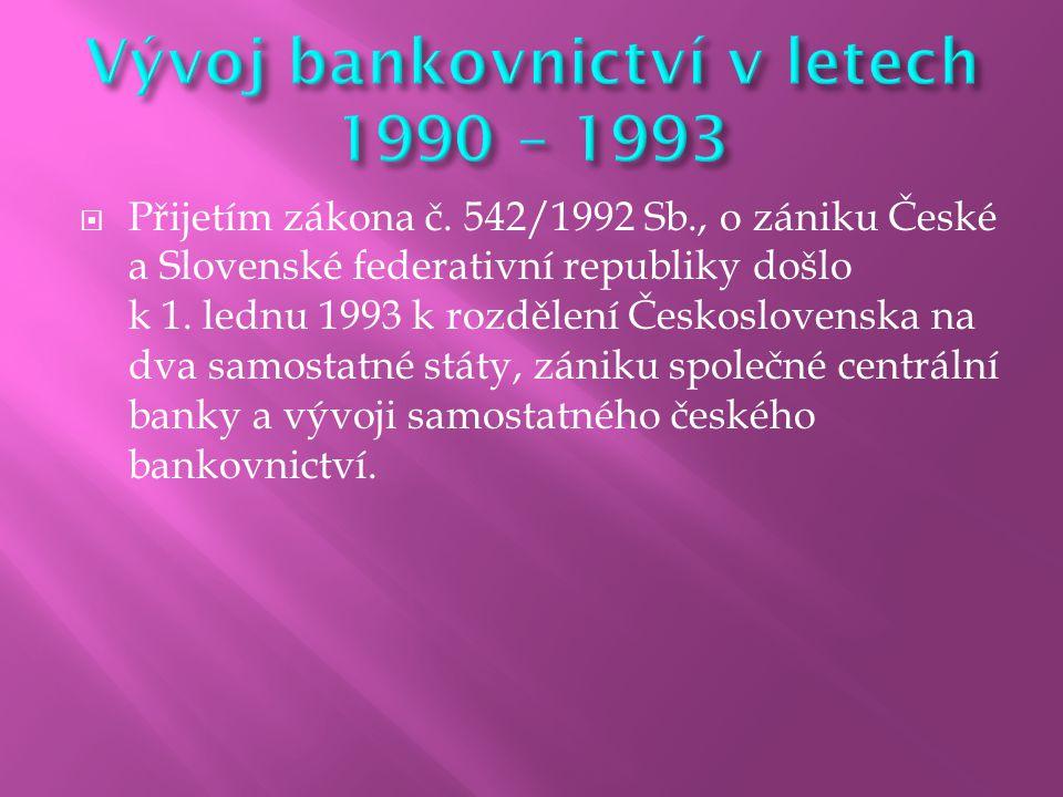 Vývoj bankovnictví v letech 1990 – 1993