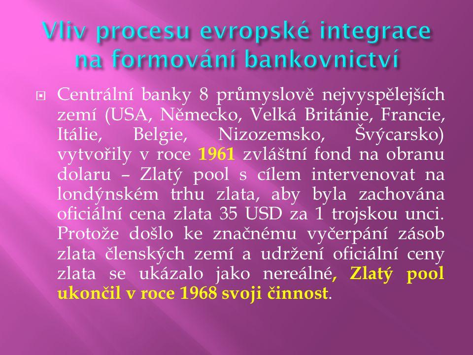 Vliv procesu evropské integrace na formování bankovnictví