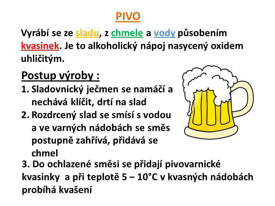 PIVO Vyrábí se ze sladu, z chmele a vody působením kvasinek. Je to alkoholický nápoj nasycený oxidem uhličitým.
