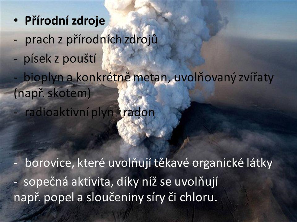 Přírodní zdroje prach z přírodních zdrojů. - písek z pouští. - bioplyn a konkrétně metan, uvolňovaný zvířaty (např. skotem)