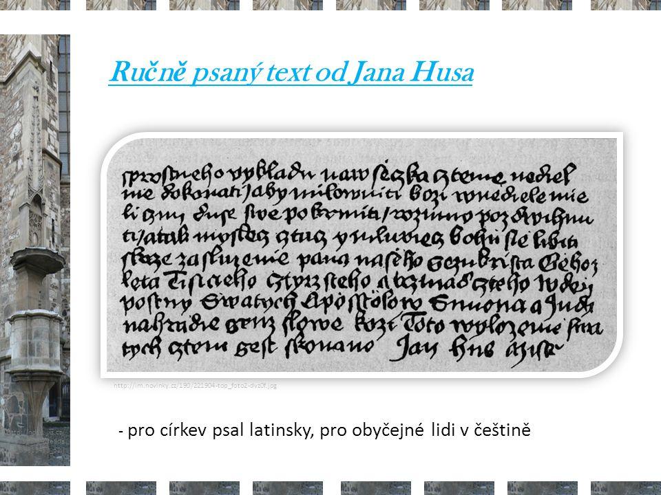 Ručně psaný text od Jana Husa