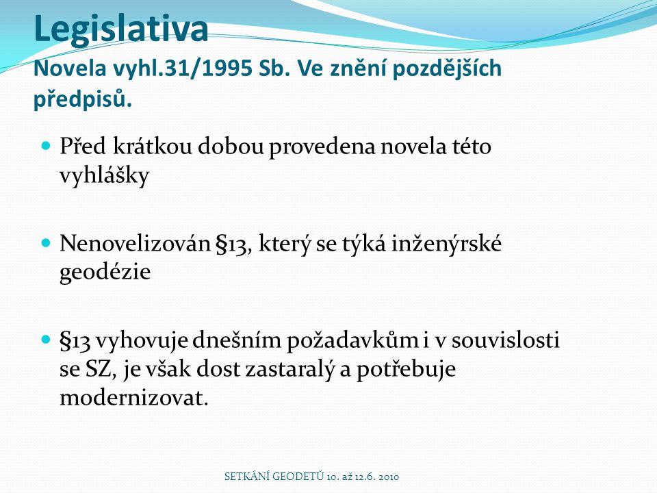 Legislativa Novela vyhl.31/1995 Sb. Ve znění pozdějších předpisů.