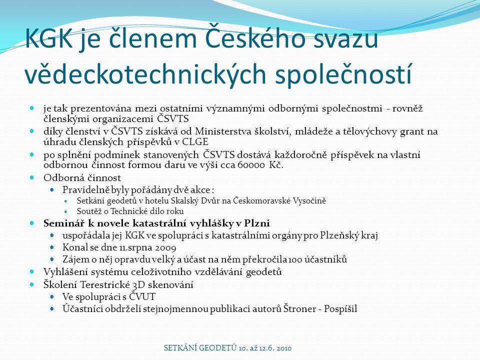 KGK je členem Českého svazu vědeckotechnických společností