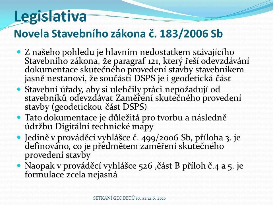Legislativa Novela Stavebního zákona č. 183/2006 Sb