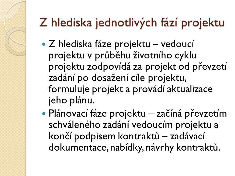 Z hlediska jednotlivých fází projektu