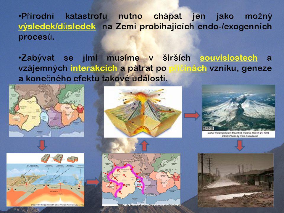 Přírodní katastrofu nutno chápat jen jako možný výsledek/důsledek na Zemi probíhajících endo-/exogenních procesů.