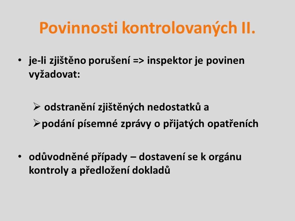 Povinnosti kontrolovaných II.