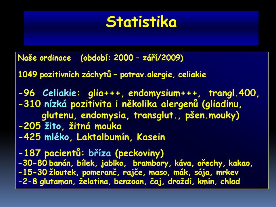 Statistika -96 Celiakie: glia+++, endomysium+++, trangl.400,