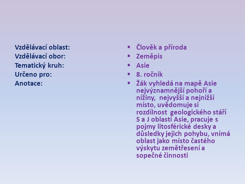 Vzdělávací oblast: Vzdělávací obor: Tematický kruh: Určeno pro: Anotace: Člověk a příroda. Zeměpis.