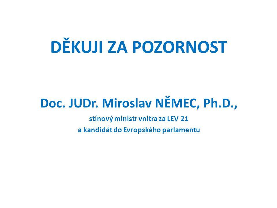 DĚKUJI ZA POZORNOST Doc. JUDr. Miroslav NĚMEC, Ph.D.,