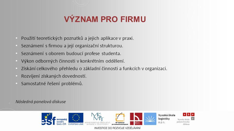 Význam pro Firmu Použití teoretických poznatků a jejich aplikace v praxi. Seznámení s firmou a její organizační strukturou.
