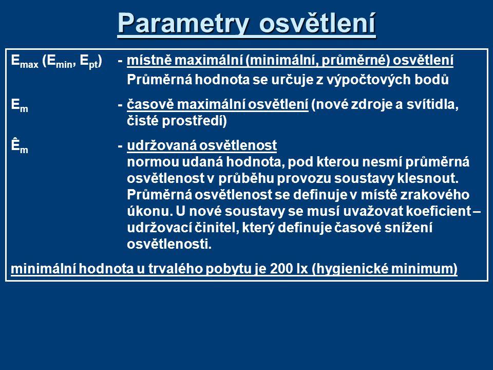 Parametry osvětlení Emax (Emin, Ept) - místně maximální (minimální, průměrné) osvětlení. Průměrná hodnota se určuje z výpočtových bodů.