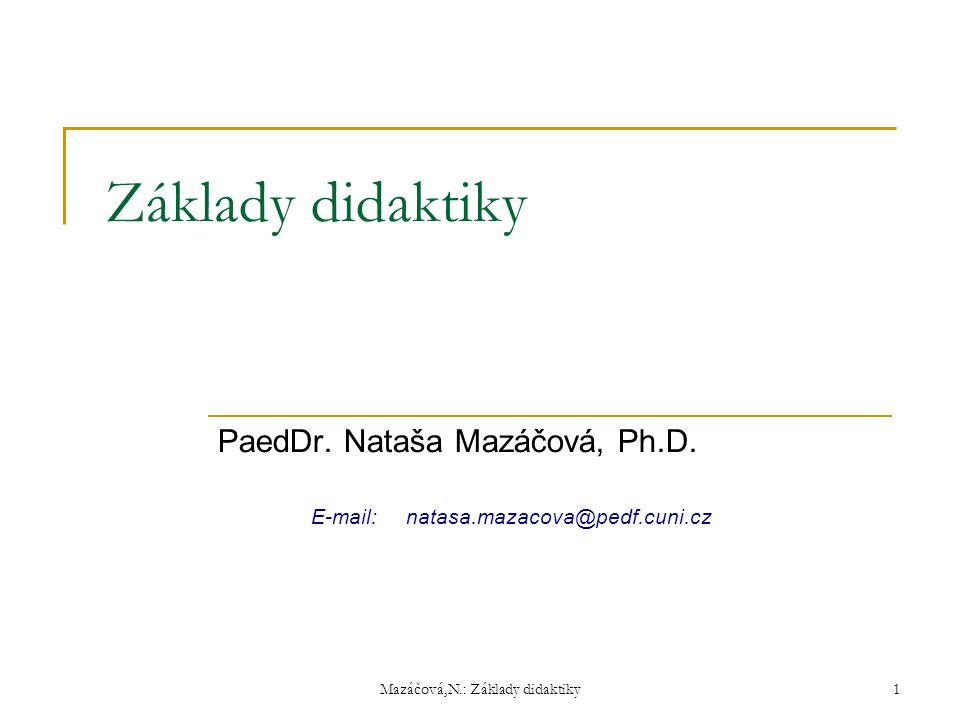 PaedDr. Nataša Mazáčová, Ph.D. E-mail: natasa.mazacova@pedf.cuni.cz