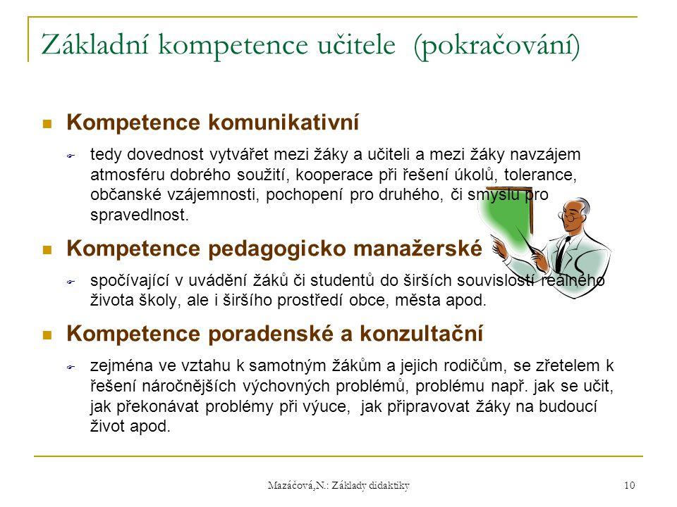 Základní kompetence učitele (pokračování)