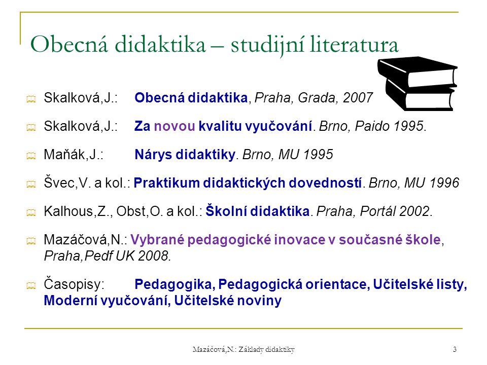 Obecná didaktika – studijní literatura