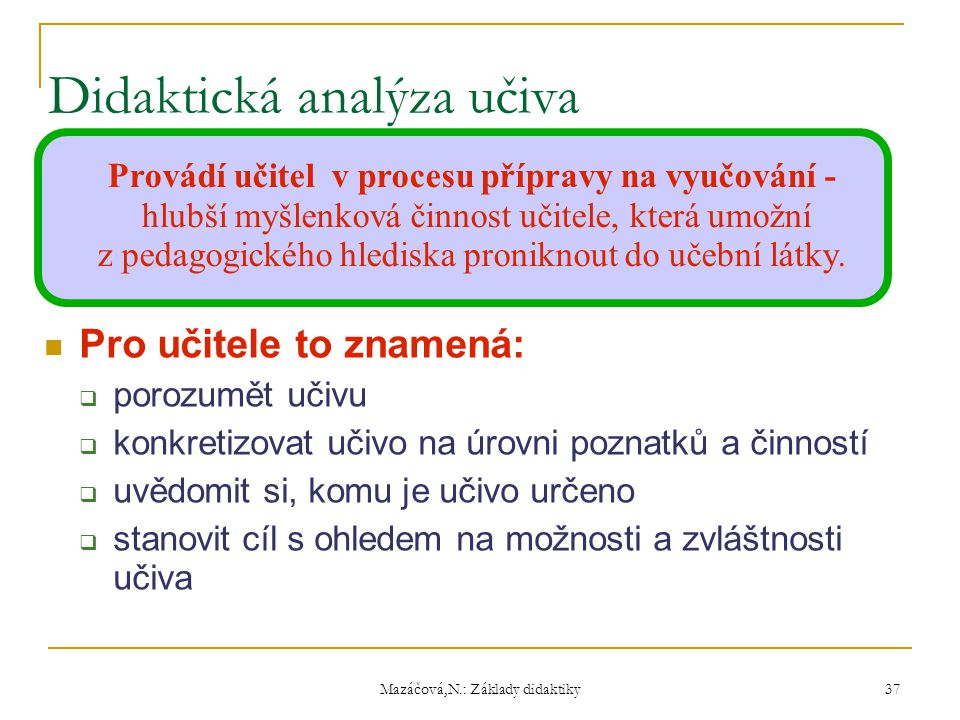 Didaktická analýza učiva