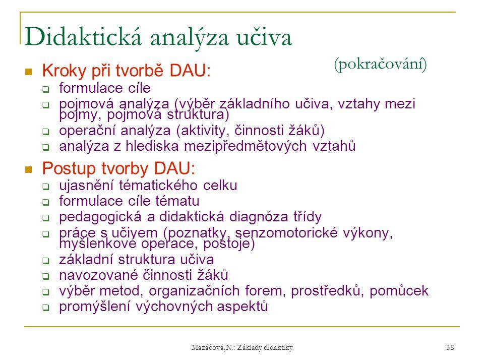 Didaktická analýza učiva (pokračování)