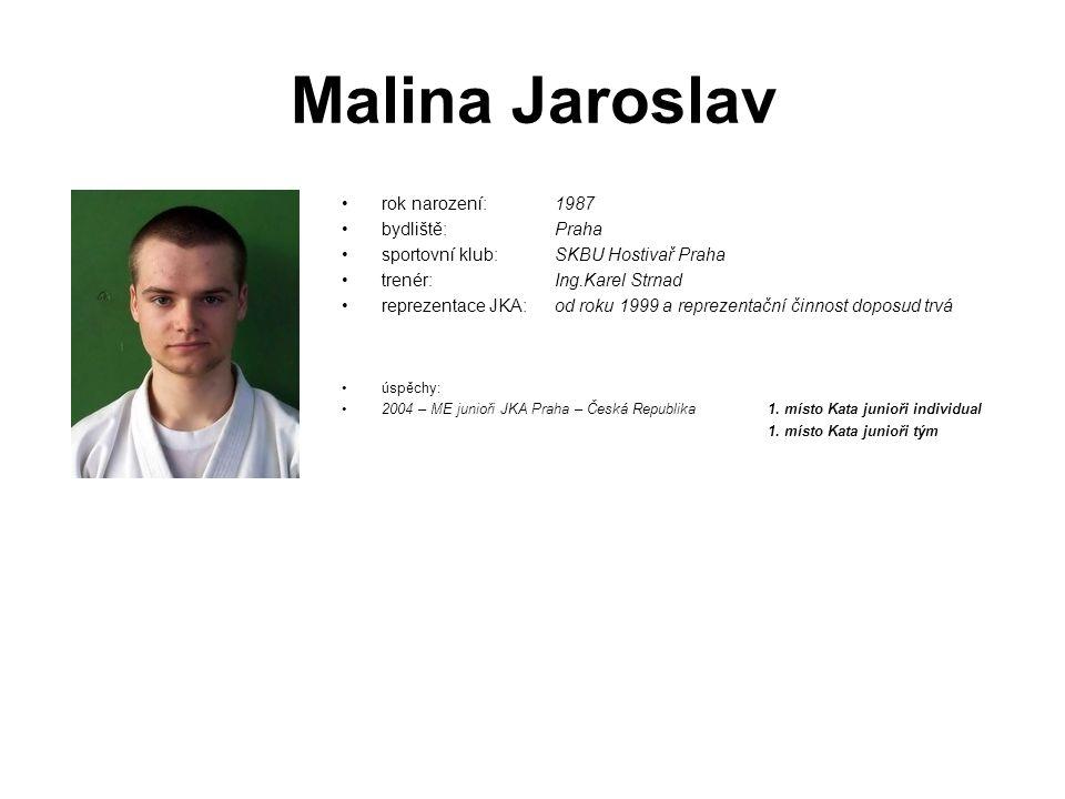 Malina Jaroslav rok narození: 1987 bydliště: Praha