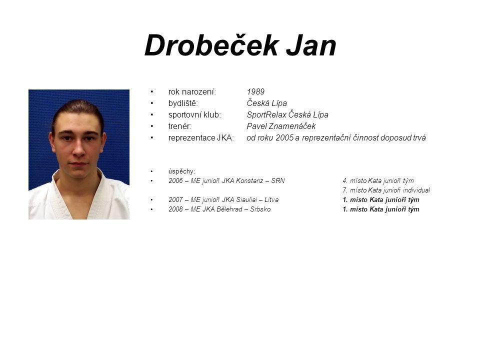 Drobeček Jan rok narození: 1989 bydliště: Česká Lípa