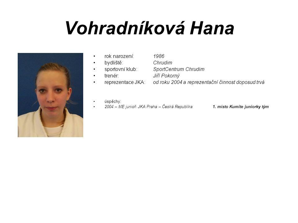 Vohradníková Hana rok narození: 1986 bydliště: Chrudim