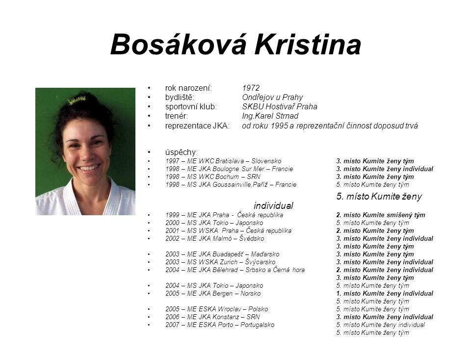 Bosáková Kristina 5. místo Kumite ženy individual rok narození: 1972