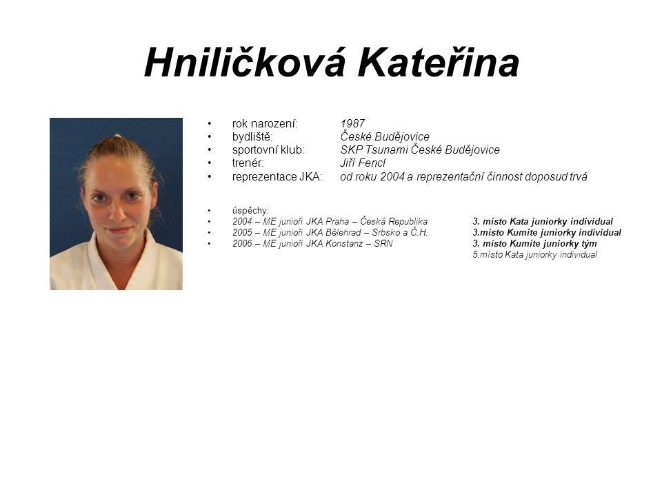 Hniličková Kateřina rok narození: 1987 bydliště: České Budějovice
