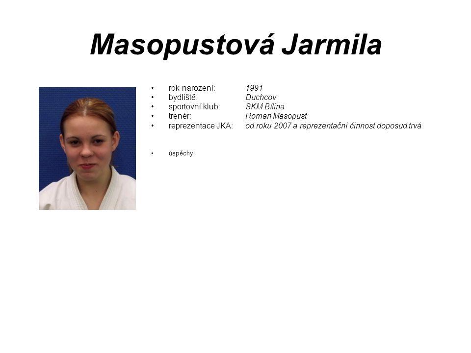Masopustová Jarmila rok narození: 1991 bydliště: Duchcov