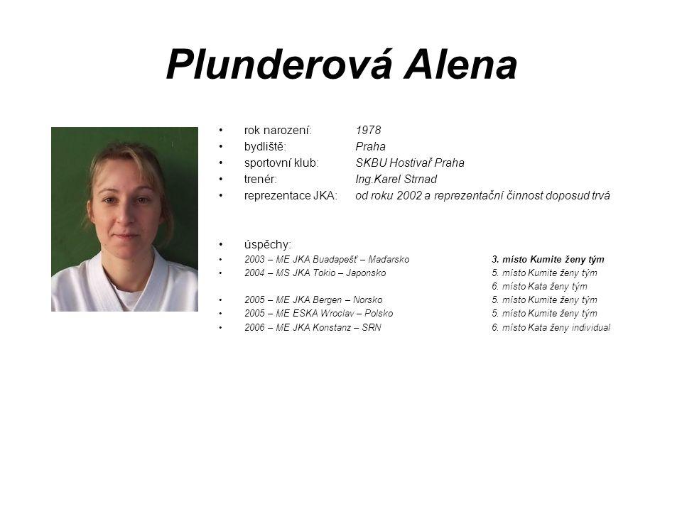 Plunderová Alena rok narození: 1978 bydliště: Praha