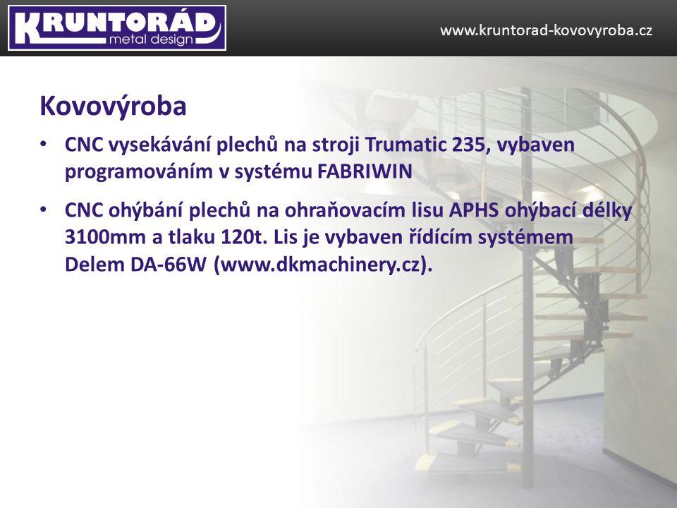www.kruntorad-kovovyroba.cz Kovovýroba. CNC vysekávání plechů na stroji Trumatic 235, vybaven programováním v systému FABRIWIN.