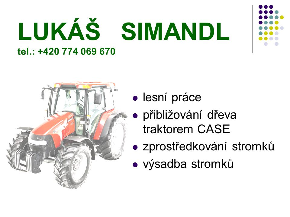 LUKÁŠ SIMANDL tel.: +420 774 069 670 lesní práce